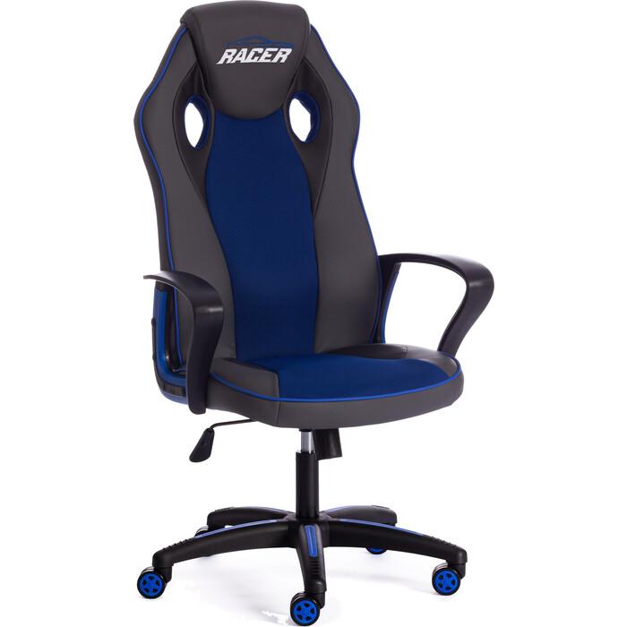 Кресло TetChair Racer кож/зам/ткань металлик/синий 36/10