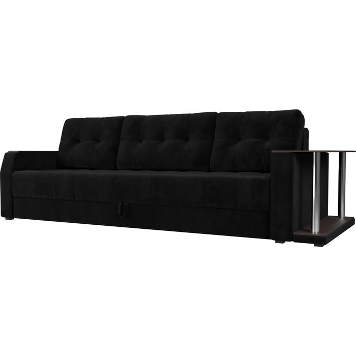 Диван-еврокнижка АртМебель Атлант велюр черный стол с правой стороны