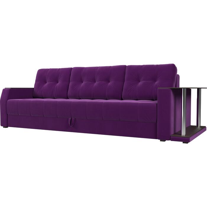 Диван АртМебель Атлант микровельвет фиолетовый стол с правой стороны