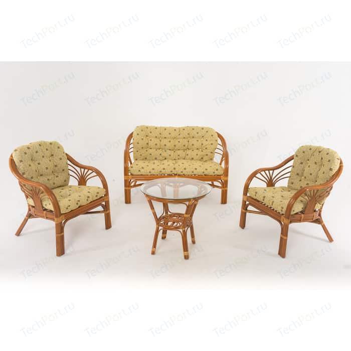 Комплект для отдыха Vinotti 01/91 коньяк желтые подушки