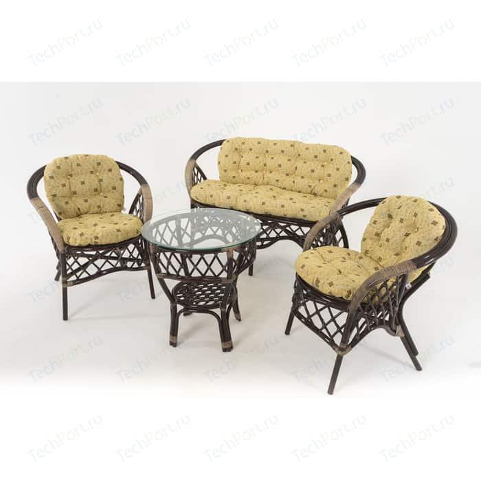 Комплект для отдыха Vinotti 01/92 темный коньяк желтые подушки