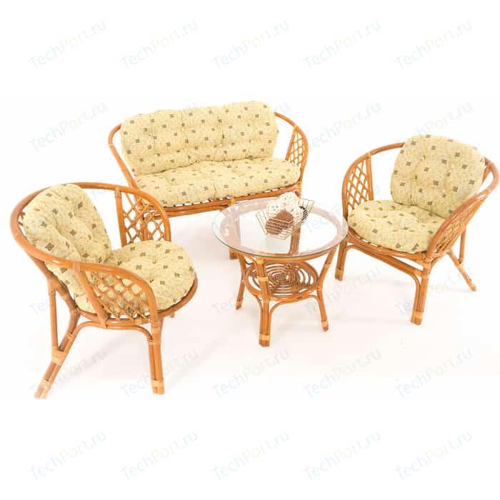 Комплект для отдыха Vinotti 01/16 коньяк желтые подушки