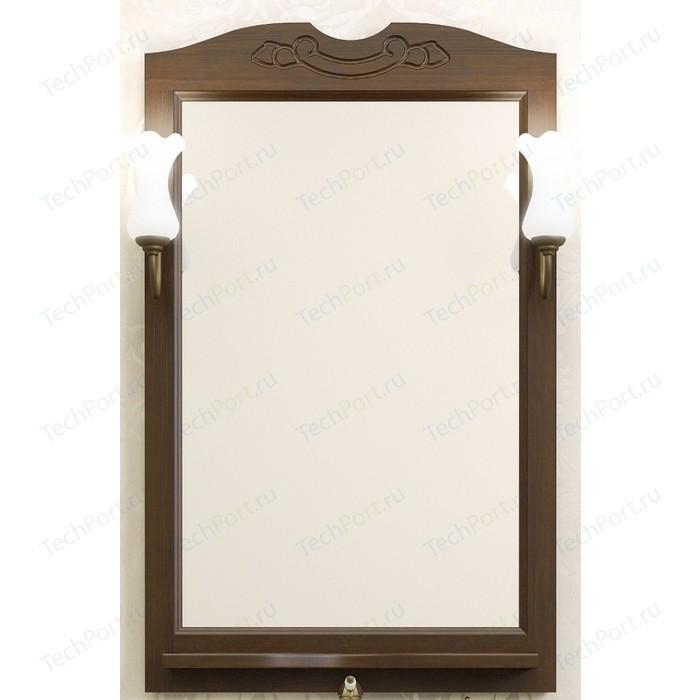 Зеркало с полкой Opadiris Клио 65 с светильниками, нагал P46 (Z0000004272 + 00000001041) зеркало в деревянной раме opadiris клио 65 антикварный орех для светильников 00000001041 z0000001408 z0000004272