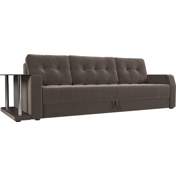 Диван-еврокнижка АртМебель Атлант велюр коричневый стол с левой стороны