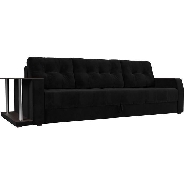 Диван-еврокнижка АртМебель Атлант велюр черный стол с левой стороны