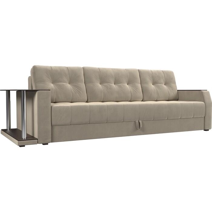 Диван-еврокнижка АртМебель Атлант микровельвет бежевый стол с левой стороны диван еврокнижка артмебель атлант рогожка серый стол с левой стороны