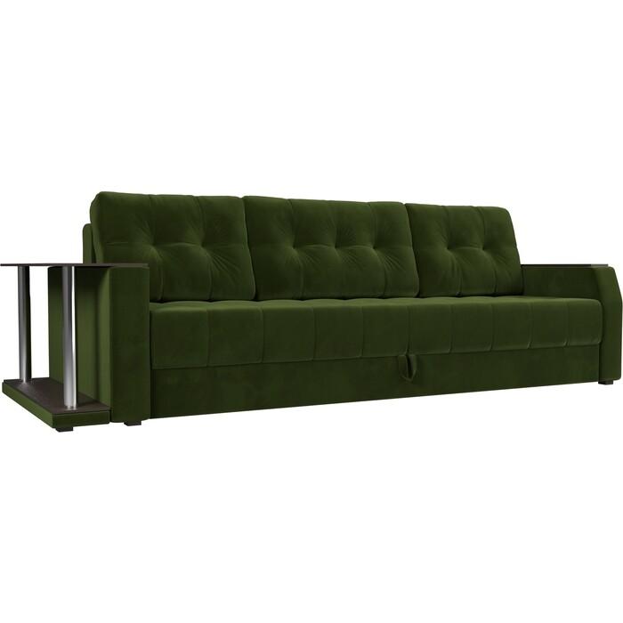 Диван-еврокнижка АртМебель Атлант микровельвет зеленый стол с левой стороны диван еврокнижка артмебель атлант рогожка серый стол с левой стороны