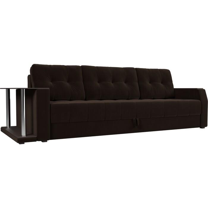 Диван-еврокнижка АртМебель Атлант микровельвет коричневый стол с левой стороны диван еврокнижка артмебель атлант рогожка серый стол с левой стороны