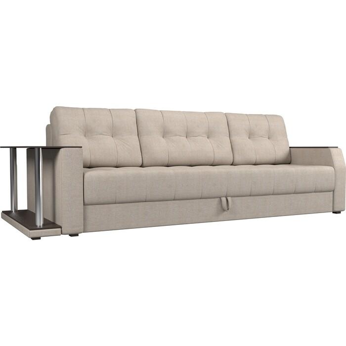 Диван-еврокнижка АртМебель Атлант рогожка бежевый стол с левой стороны диван еврокнижка артмебель атлант рогожка серый стол с левой стороны