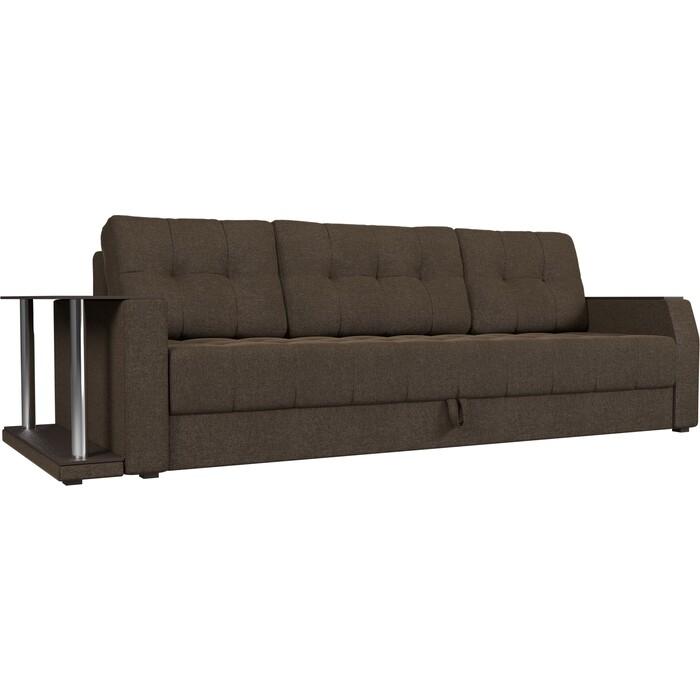 Диван-еврокнижка АртМебель Атлант рогожка коричневый стол с левой стороны диван еврокнижка артмебель атлант рогожка серый стол с левой стороны