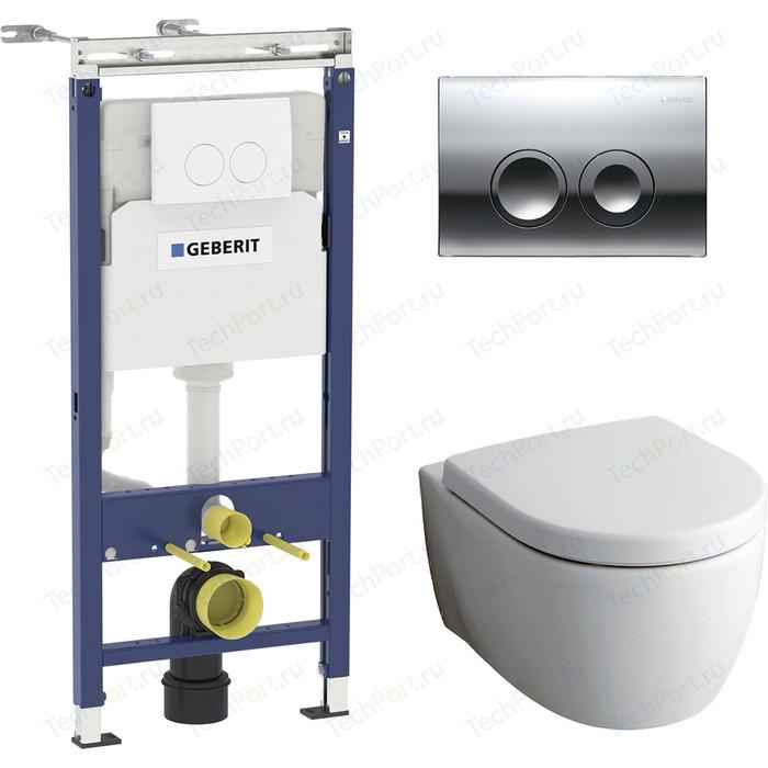 Комплект Geberit iCon Rimfree, унитаз с сиденьем микролифт, инсталляция, кнопка (458.122.21.1-20406)
