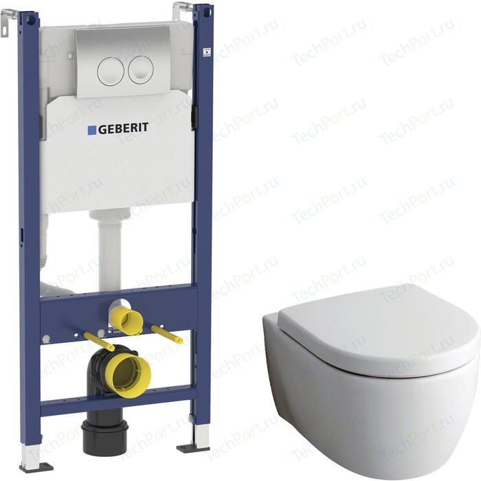 Комплект Geberit iCon Rimfree, унитаз с сиденьем микролифт, инсталляция, кнопка (458.124.21.1-20406)