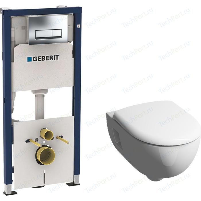 Комплект Geberit Duofix Renova Premium Rimfree, унитаз с сиденьем микролифт, инсталляция, кнопка (458.128.21.1-20307)