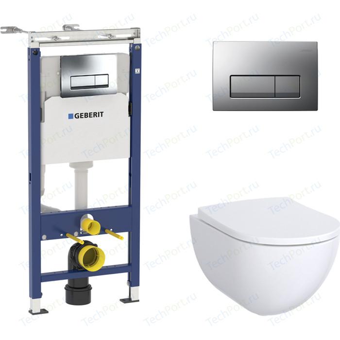 Комплект Geberit Acanto Rimfree, унитаз с сиденьем микролифт, инсталляция, кнопка (458.125.21.1-500.600)