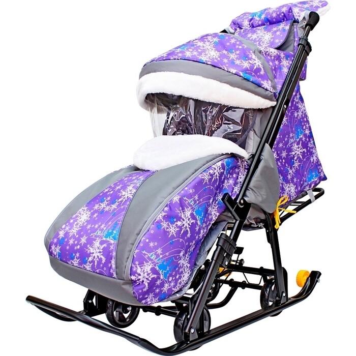 Санки коляска GALAXY SNOW LUXE Елки на фиолетовом больших мягких колесах+сумка+муфта