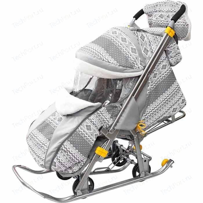 Санки коляска GALAXY SNOW LUXE Финляндия серая на больших мягких колесах+сумка+муфта