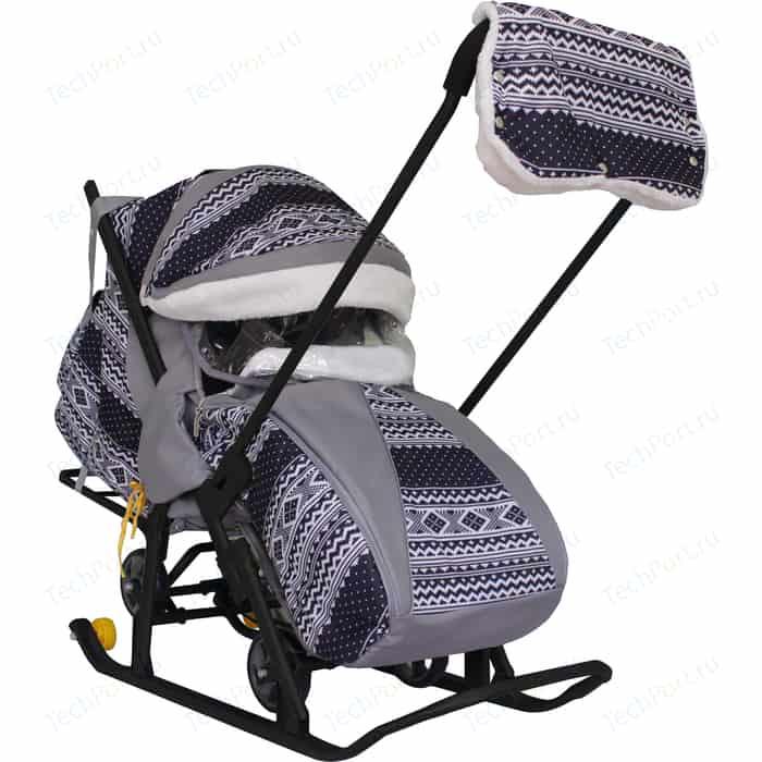 Санки коляска GALAXY SNOW LUXE Финляндия черная на больших мягких колесах+сумка+муфта