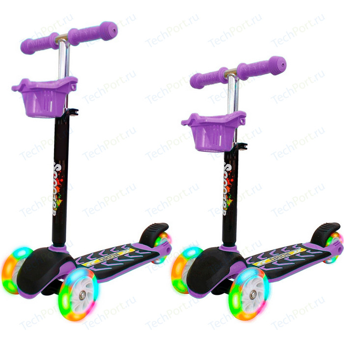 Самокат 3-х колесный RT 164в6 MIDI ORION со светящимися колесами фиолетовый