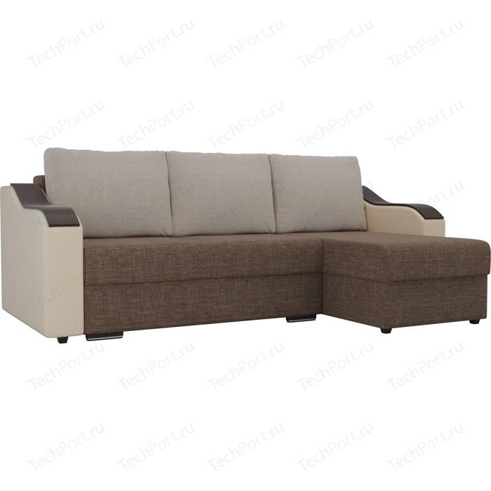Угловой диван Лига Диванов Монако рогожка коричневый подлокотники экокожа бежевые подушки бежевый правый угол