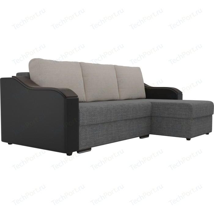 Угловой диван Лига Диванов Монако рогожка серый подокотники экокожа черные подушки бежевый правый угол