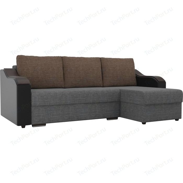 Угловой диван Лига Диванов Монако рогожка серый подокотники экокожа черные подушки коричневый правый угол