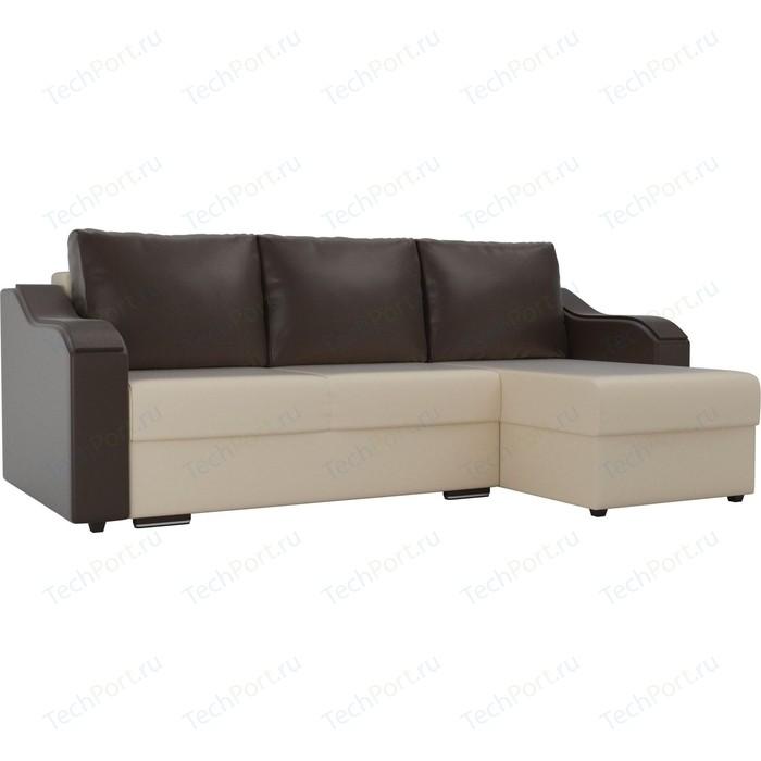 Угловой диван Лига Диванов Монако экокожа бежевый подлокотники коричневые подушки правый угол