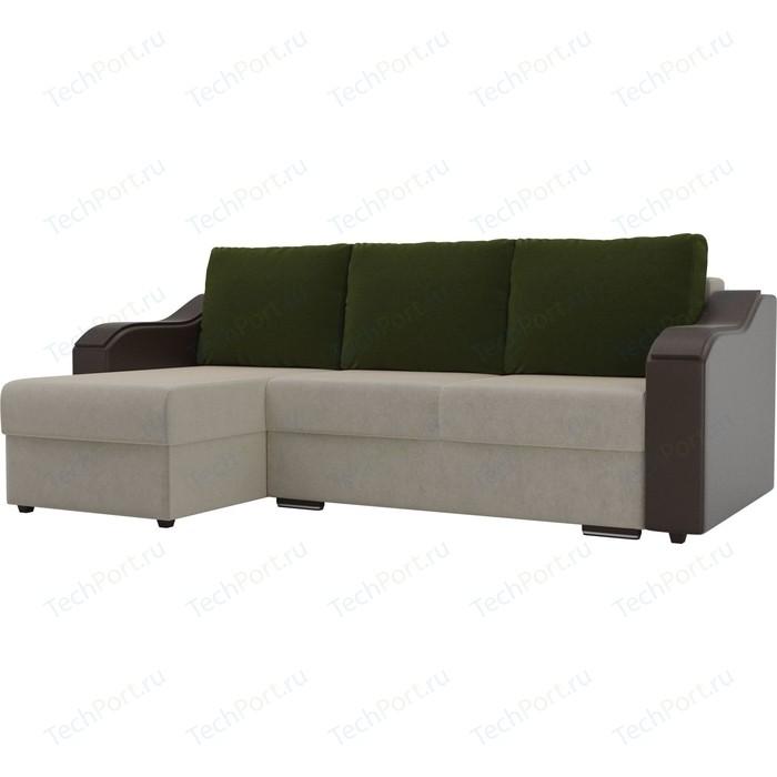 Угловой диван Лига Диванов Монако микровельвет бежевый подлокотники экокожа коричневые подушки микровельвет зеленый левый угол