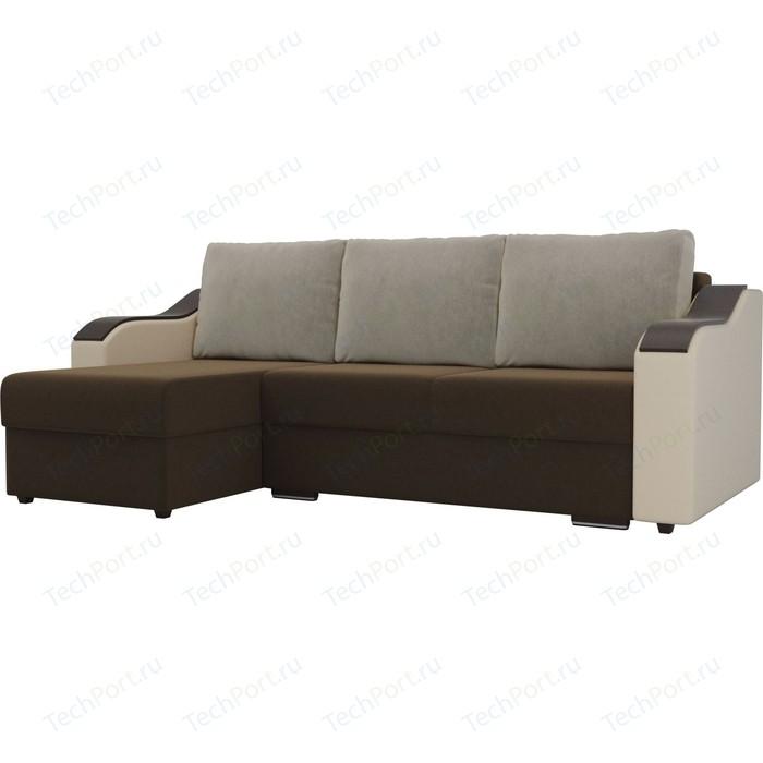 Угловой диван Лига Диванов Монако микровельвет коричневый подлокотники экокожа бежевые подушки микровельвет бежевый левый угол
