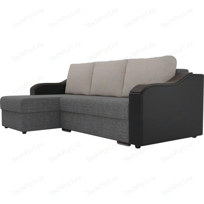 Угловой диван Лига Диванов Монако рогожка серый подокотники экокожа черные подушки бежевый левый угол