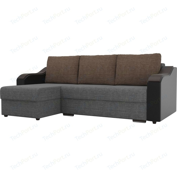 Угловой диван Лига Диванов Монако рогожка серый подокотники экокожа черные подушки коричневый левый угол
