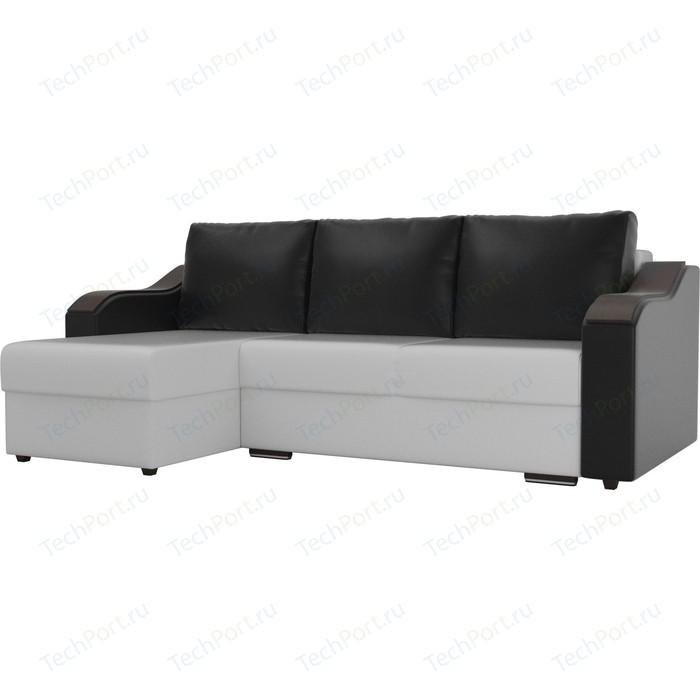 Угловой диван Лига Диванов Монако экокожа белый подлокотники черные подушки левый угол