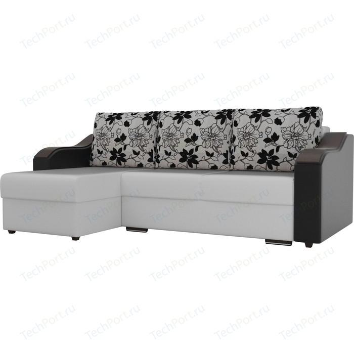 Угловой диван Лига Диванов Монако экокожа белый подлокотники черные подушки рогожка на флоке левый угол