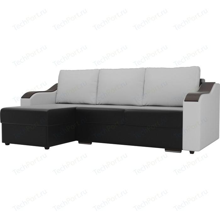 Угловой диван Лига Диванов Монако экокожа черный подлокотники белые подушки белые левый угол прямой диван лига диванов монако slide экокожа черный подлокотники белые подушки белые