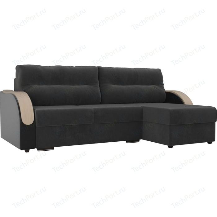 Угловой диван Лига Диванов Дарси велюр серый подлокотники экокожа черные правый угол прямой диван лига диванов дарси велюр синий подлокотники экокожа черные