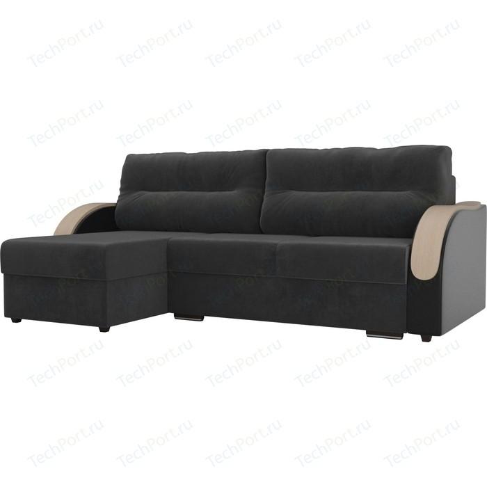 Угловой диван Лига Диванов Дарси велюр серый подлокотники экокожа черные левый угол прямой диван лига диванов дарси велюр синий подлокотники экокожа черные