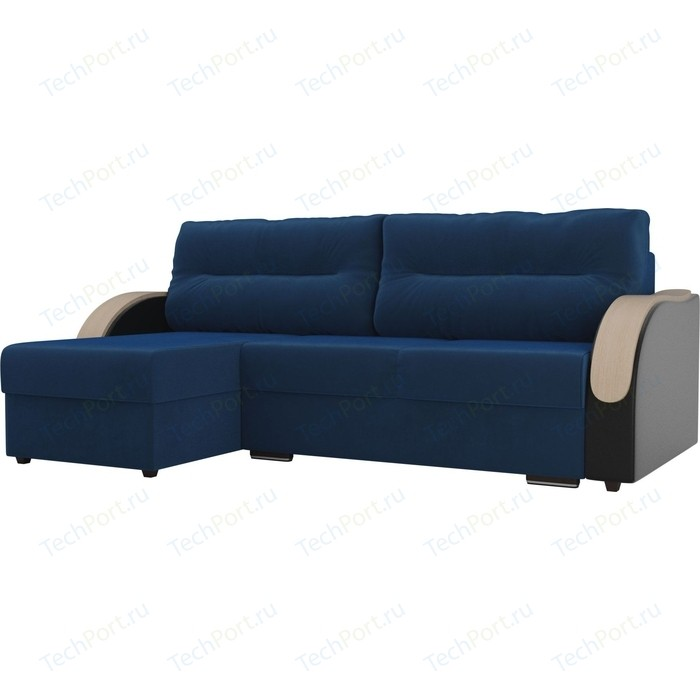 Угловой диван Лига Диванов Дарси велюр голубой подлокотники экокожа черные левый угол прямой диван лига диванов дарси велюр синий подлокотники экокожа черные