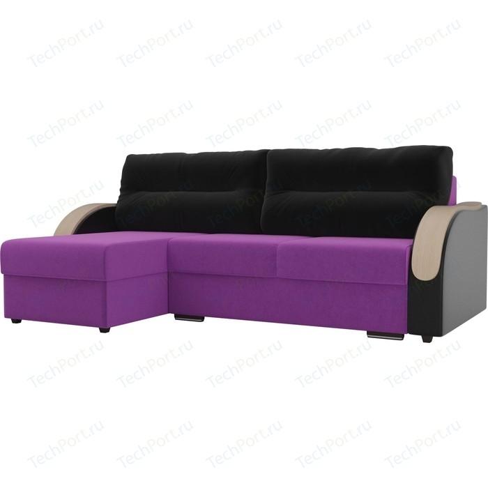 Угловой диван Лига Диванов Дарси микровельвет фиолетовый подлкотники экокожа черные подушки левый угол