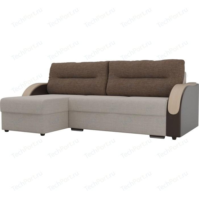 Угловой диван Лига Диванов Дарси рогожка бежевый подлокотники экокожа коричневые подушки левый угол