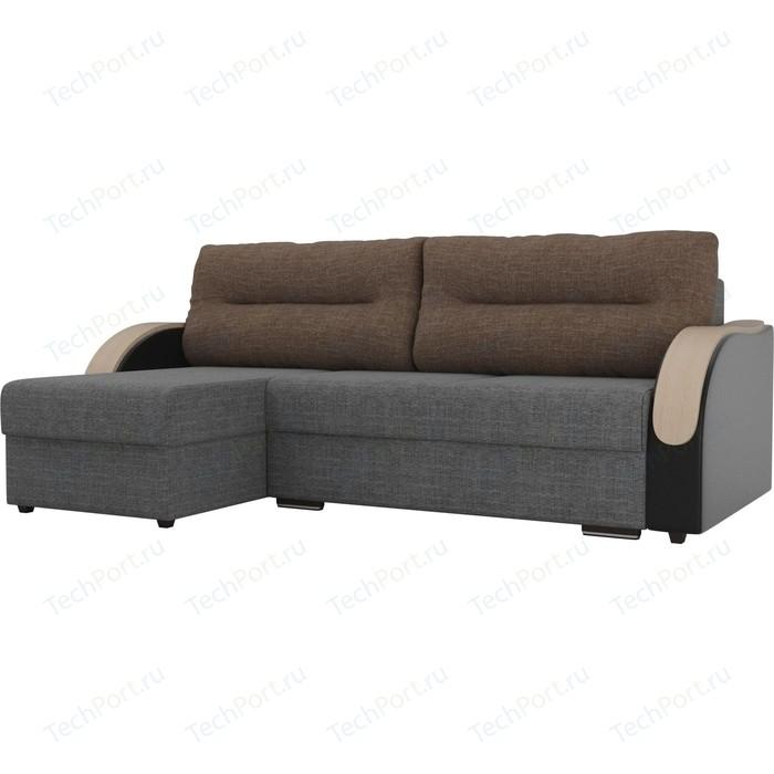 Угловой диван Лига Диванов Дарси рогожка серый подлокотники экокожа черные подушки коричневая левый угол