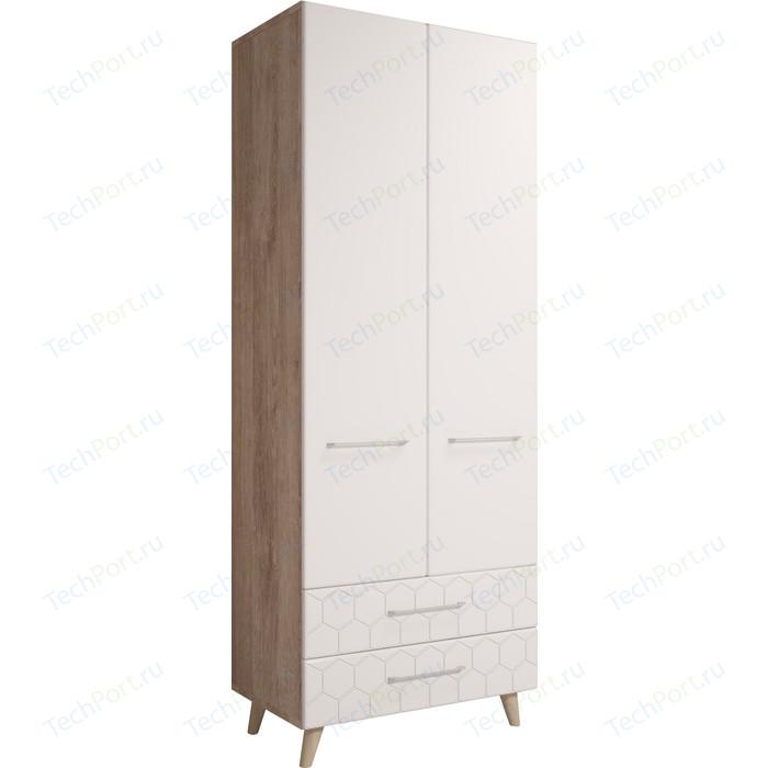 Шкаф 2-х дверный Комфорт - S Войтек М 1 дуб баррик/белая матовая
