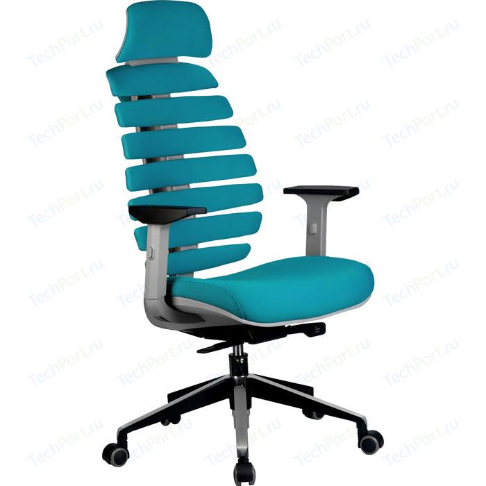 Кресло Riva Chair RCH Shark серый пластик, ткань лазурная (26-30)