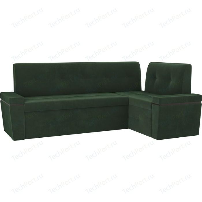 Кухонный угловой диван АртМебель Деметра велюр зеленый правый угол