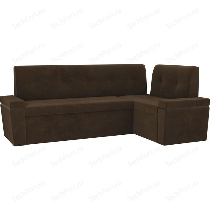 Кухонный угловой диван АртМебель Деметра велюр коричневый правый угол