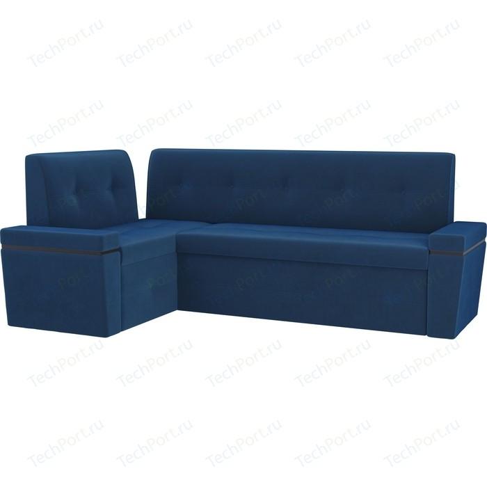 Кухонный угловой диван АртМебель Деметра велюр голубой левый угол кухонный угловой диван артмебель деметра велюр бежевый левый угол