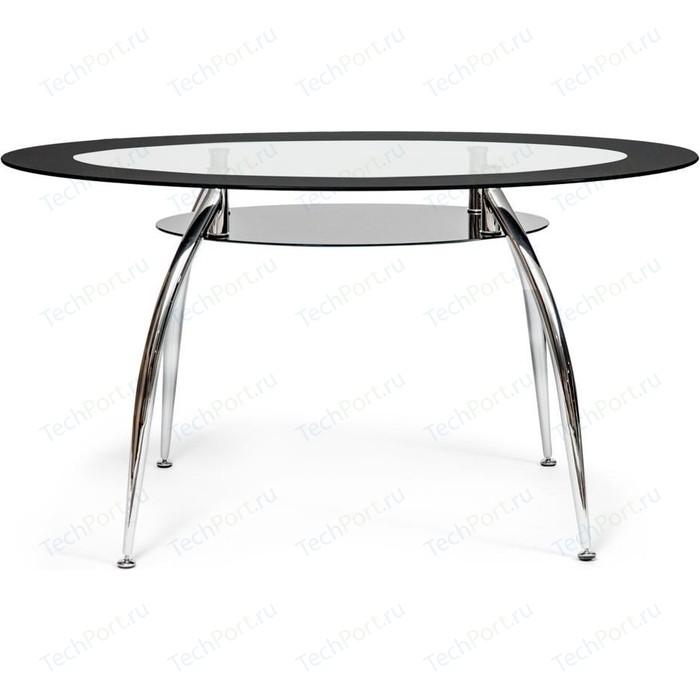 Стол TetChair SADLER (mod. 445) металл/стекло (8мм) хром/черный