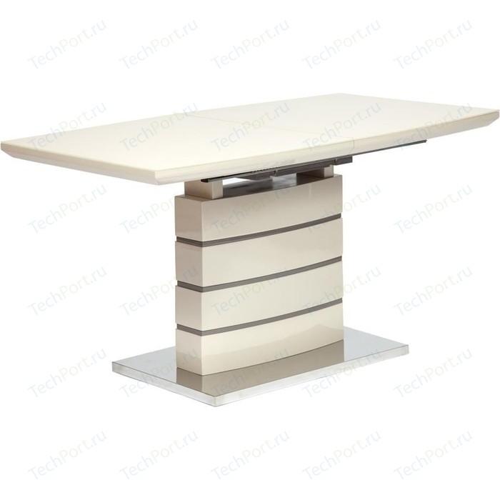 Стол TetChair WOLF (mod. 8053-2) мдф high gloss закаленное стекло 140/180x80x76 см слоновая кость/латте стол tetchair brugge mod edt ve001 120 150х80х75 см
