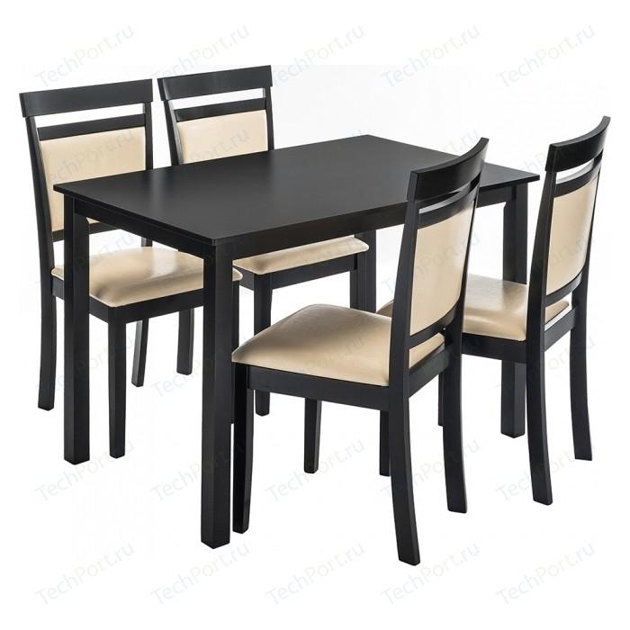 Обеденная группа Woodville Modis (стол и 4 стула) cappuccino/cream