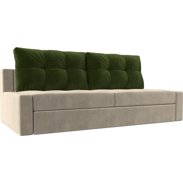 Прямой диван Лига Диванов Мартин микровельвет бежевый подушки зеленый прямой диван лига диванов мартин микровельвет коричневый подушки бежевый