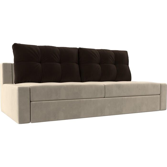 Прямой диван Лига Диванов Мартин микровельвет бежевый подушки коричневый прямой диван лига диванов мартин микровельвет коричневый подушки бежевый