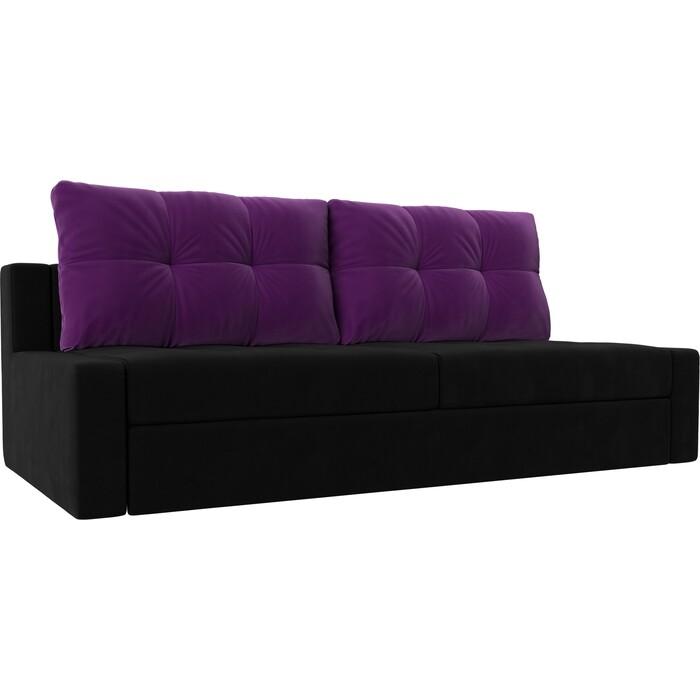 Прямой диван Лига Диванов Мартин микровельвет черный подушки фиолетовый